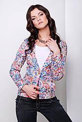 Женский нарядный пиджак на одну пуговицу с красивым принтом витраж 01 Жардин