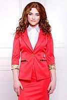 Элегантный женский пиджак на одну пуговицу, рукав 3/4 с леопардовой отделкой, красный Леонора