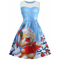 Платье С Принтом Рождества И Сеткой Без Рукавов S