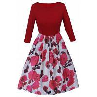 Rrockabilly Винтажное платье с цветочным принтом 50-х 60-х Стиль женщин платье o-шея 3/4 рукавом партия Клубная одежда вечернее платье XL