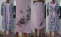 Комплект для кормящих и беременных женщин халат и сорочка из полотна стрейч кулир 44-54 р