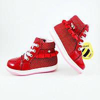 Ботинки для девочки красные, лак