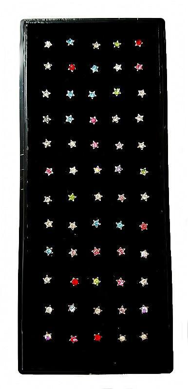 Серьги -гвоздики в нос. Камни: циркон разных цветов. Форма-звёздочки. Диаметр: 2,5 мм. В упаковке 60 шт.