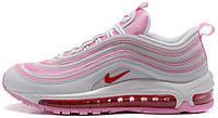 Женские спортивные кроссовки Nike Air Max 97 White/Pink Найк Аир Макс 97 белые с розовым
