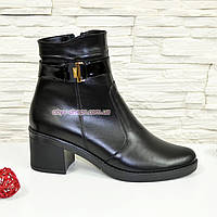 Полуботинки черные женские зимние кожаные на невысоком каблуке