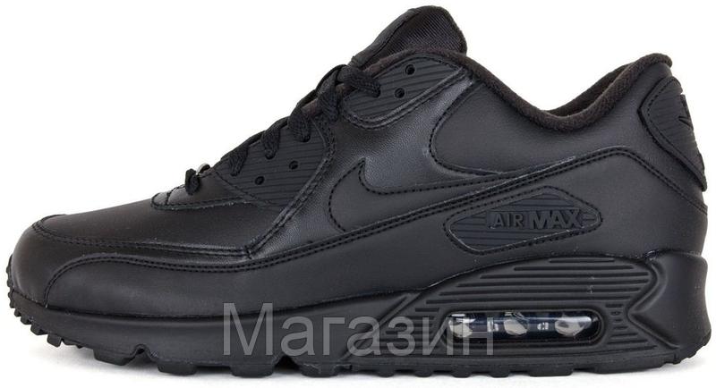 7a2593ea Женские кроссовки Nike Air Max 90 Leather Black Найк Аир Макс 90 черные -  Магазин обуви