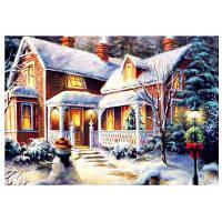 Поделки 5Д Алмазная Живопись Снежный вечер домашнего декора 35 х 27см Цветной