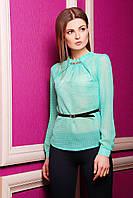 Шифоновая зеленая блуза в горох с длинным рукавом Энни