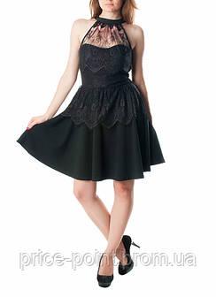 Трикотажное женское платье с кружевными вставками Morgan, р. S