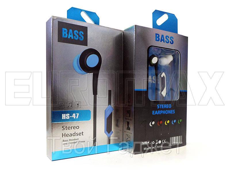 Наушники вакуумные с микрофоном Bass HS-47