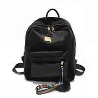 Женский рюкзак черный из ткани бархатный