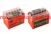 Аккумулятор на мототехнику   12V 4А   гелевый   (114x71x88, оранжевый, с индикатором заряда, вольтметром)   OUTDO, шт