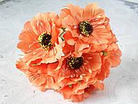 Декоративные цветы (маки) диаметр 5 см, 6 шт/уп., оранжевого цвета, фото 1