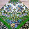 Павлопосадский платок зеленого цвета (120х120см, 80%-шерсть)