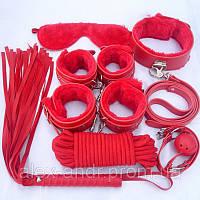 Набор Садо-мазо.BDSM.Фетиш Плетка, веревка 5 м.,маска, кляп,наручники 2 пары, ошейник, Набор для игр. 4 цвета.