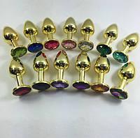 Анальная втулка,пробка золото с камнем + чехол.Много цветов