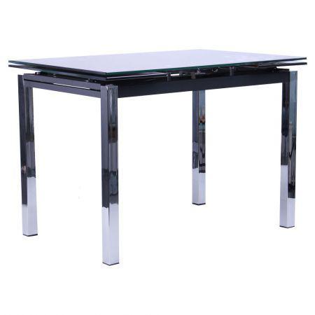 Стол обеденный раскладной Глория B179-34-2 База хром/Стекло черный, TM AMF