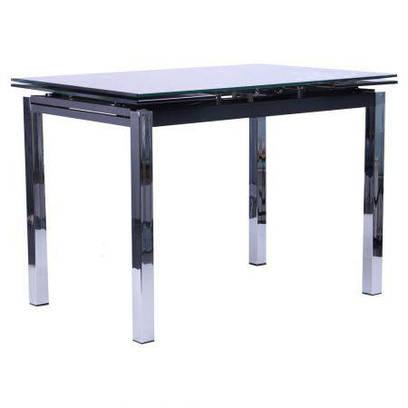 Стол обеденный раскладной Глория B179-34-2 База хром/Стекло черный