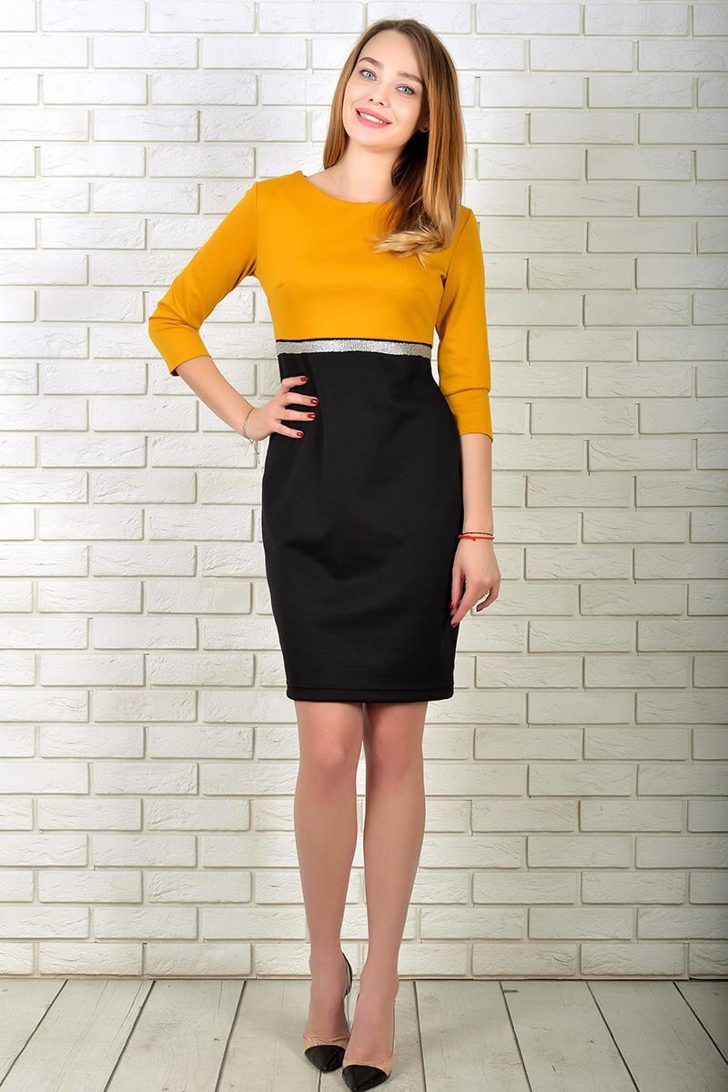 Платье 808 турецкий трикотаж, Горчица с черным