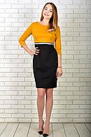 Платье 808 турецкий трикотаж, Горчица с черным, фото 1