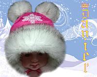 Детская шапка Снежка малиновая