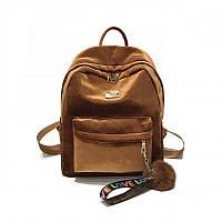 Женский рюкзак коричневый из ткани бархатный
