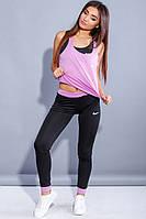 Удобный костюм для фитнеса тройка лиловый с черным, фото 1