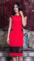 Платье женское красное с гипюром