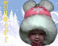 Детская шапка Снежка кораловая