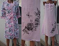 Комплект для кормящих и беременных женщин халат и сорочка из полотна кулир пенье 44-54 р