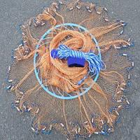 Кастинговая сеть Американка капрон, парашют рыбацкий с кольцом фрисби, диаметр 4.2. м. для промышленного лова