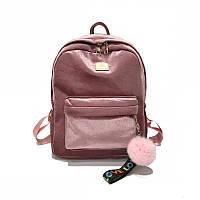 Женский рюкзак из ткани бархатный розовый, фото 1