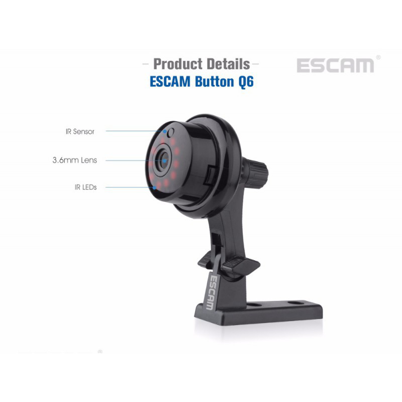 Камера миниатюрная IP Escam Button Q6 720p