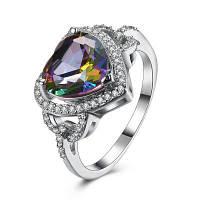 Блестящие Искусственный Камень Сердце Кольцо 9