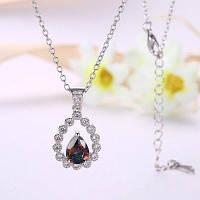 Ожерелье Искусственный Драгоценный Камень Каплевидной Ключицы Серебристый