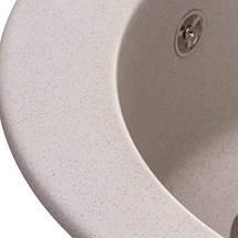 Круглая гранитная мойка кухонная серая с евросифоном 51*51 см Granado Vitoria gris 0108, фото 3
