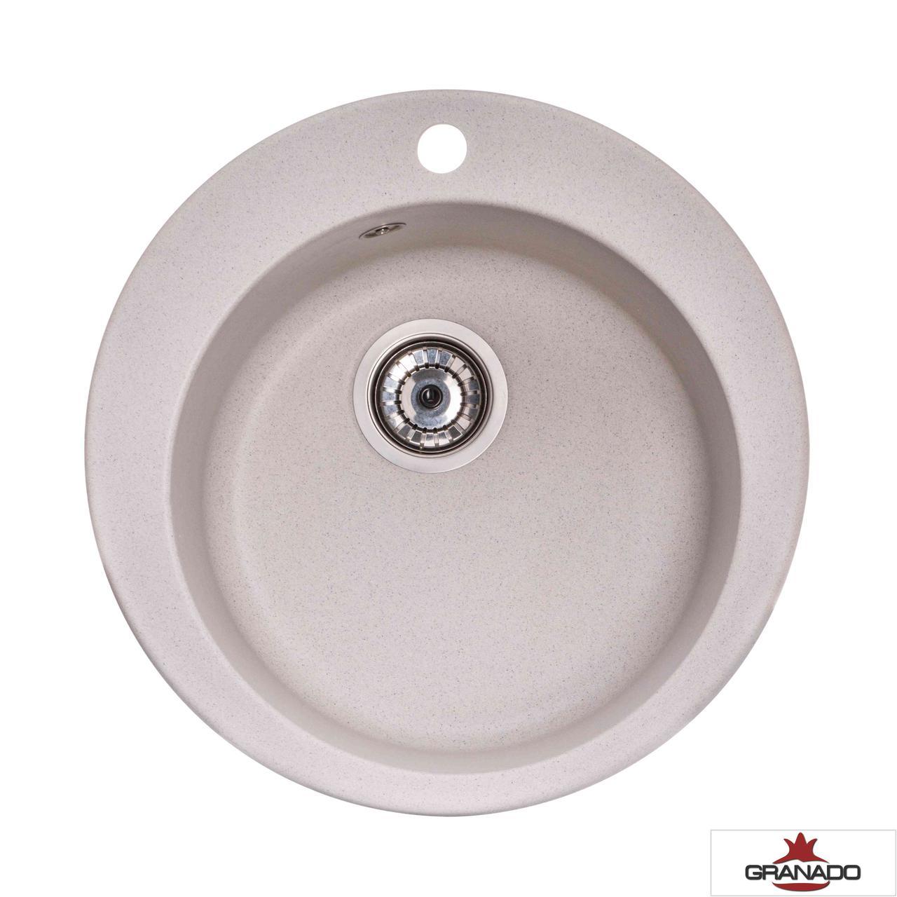 Круглая гранитная мойка кухонная серая с евросифоном 51*51 см Granado Vitoria gris 0108