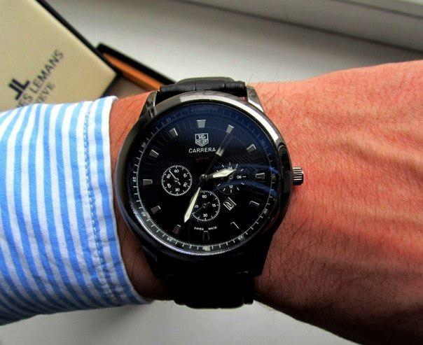 Годинники чоловічі кварцові GRAND Carrera All Black. Стильні годинники GRAND Carrera All Black. Якісні годинники.