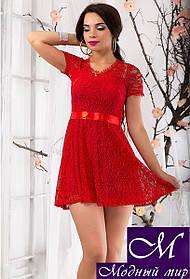 Женское красное гипюровое платье (р. 42, 44) арт. 9369