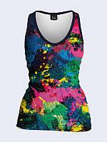 """Модная 3D майка """"Брызги краски"""" с ярким рисунком. Размеры от 42 по 50."""