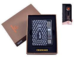 """Портсигар на 10 сигарет + USB зажигалка с выбросом сигарет """"Мешок баксов"""""""