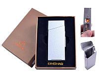Портсигар с USB зажигалкой Silver в подарочной упаковке под пачку сигарет Slim, спираль накаливания