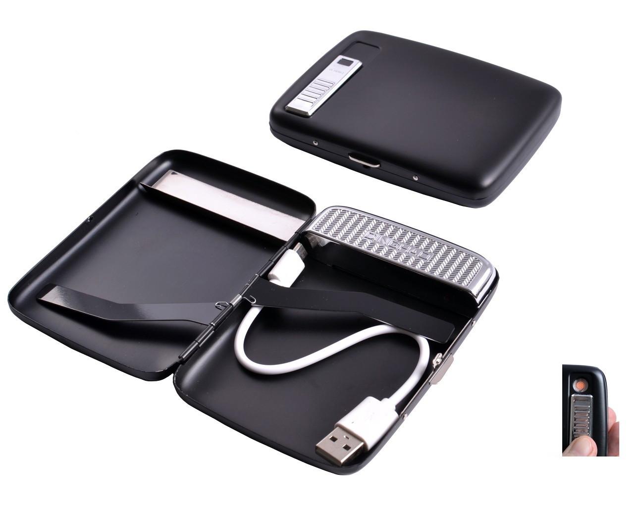 Портсигар Black + USB зажигалка на 20 сигарет