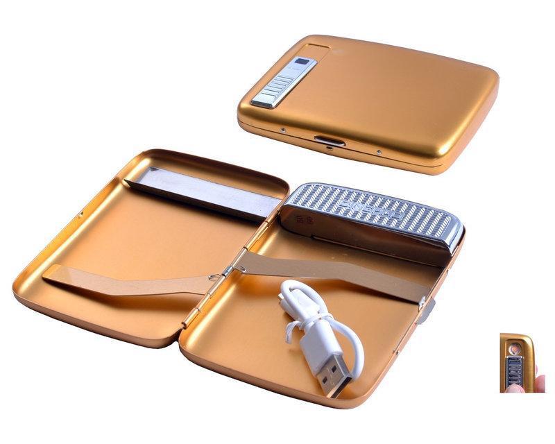 Портсигар Gold + USB зажигалка на 20 сигарет