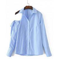 Полоску Холодное Плечо С Бантом Рубашка S