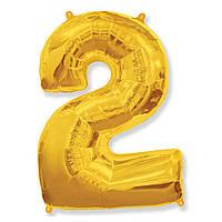 """Фольгированная цифра шар """"2"""" Золотая 35 см."""