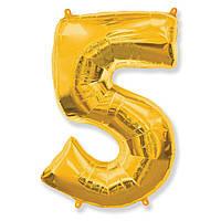 """Фольгированная цифра шар """"5"""" Золотая 35 см."""