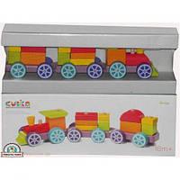 Детская игрушка паровоз  Поїзд Веселковий експрес Дерево LP-3