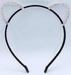 Ушки с черным ободком декорированы стразами (2 ед в уп)