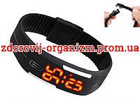 Турмалиновые спортивные светодиодные часы силиконовые влагонепроницаемые черные